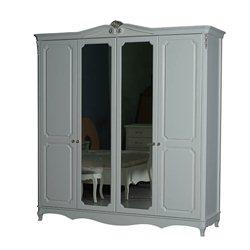 Шкаф 4-дверный Оливия серебро