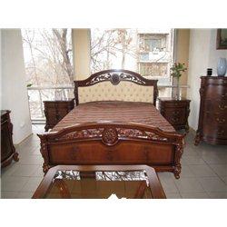 Кровать Жозефина темный орех с мягким изголовьем